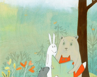 Story Time on the Mountain - Signed Art Print(Animals Reading a book)