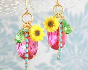 Pink Turquoise Rhinestone Yellow Daisy Vintage Charm Earrings