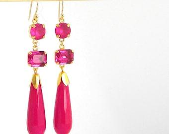 Fuschia Pink Long Art Deco Statement Earrings