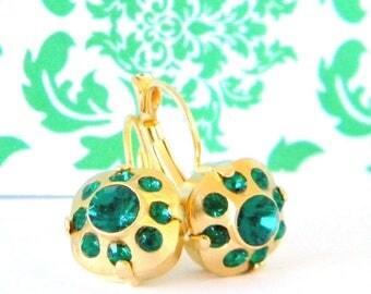 Swarovski Emerald Green Cushion Cut Gold  Leverback Earrings