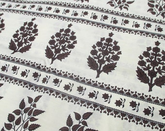 "Vintage Printed Cotton Fabric Brown Off White Floral Print 4 Yards 37"" wide 50s 60s"