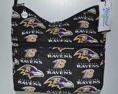 Quilted Fabric Handbag Hobo Slouch Purse Baltimore Ravens NFL