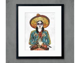 Sugar Skull Cowgirl Print