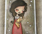 New!  STUDIO DUDA ART mini print/frameable greeting card  on velvety bright paper -Young Mother - 5x7 print