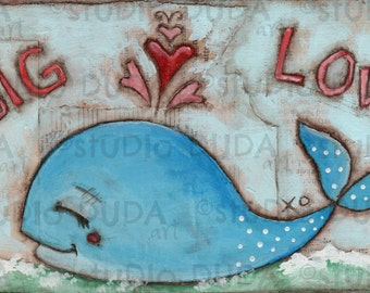 Original Folk Art Nursery Art Whale Painting on Wood -Big Love - Free Shipping