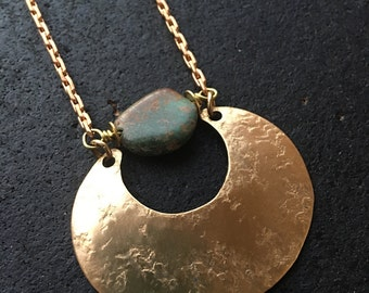 Crescent Sonora Turquoise Long Brass Statement Necklace n002 - Geometric - Turquoise pendant necklace - Turquoise Crescent Moon Necklace -