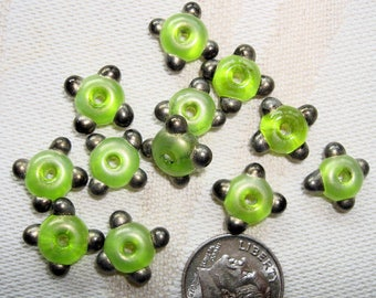 Sylvie Elise Lansdowne BEADS - Set of 6 Small Lampwork Glass Spacer Beads in Spring Green with Gold Tips