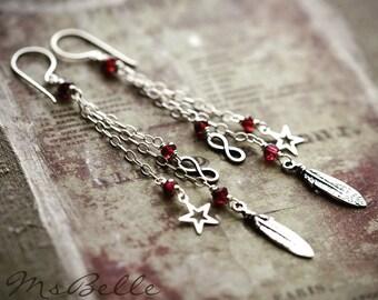 Garnet Gemstone Earrings, Charm Dangle Earrings, Feather Star Infinity Symbol Figure-8 Charm, Sterling Silver Charm Dangle Earrings