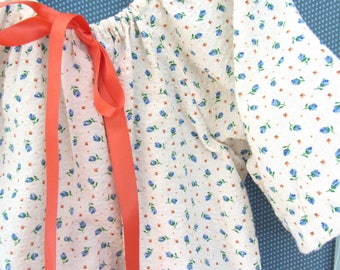 Girls Nightgown Night Shirt - Soft vintage cotton waffle fabric Girls  Size 2 - 3