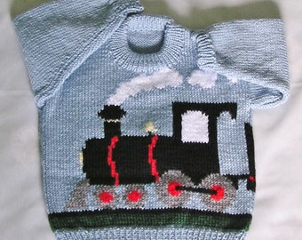Kids Train Sweater Toddler Train Jumper MADE TO ORDER Hand Knitted Childrens Train Pullover. Custom Color & Size
