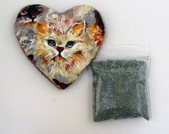 Catnip Heart Toy with Catnip Blue Eyed Cat Refillable