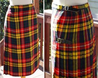"HIGHLANDS 1960's 70's Vintage Pleated Red Yellow + Green Tartan Plaid Wool Kilt Skirt w/ Side Buckles // Small Waist 26"" //  by GLEN Avon"