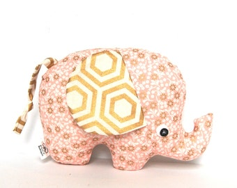 Pink and Gold Stuffed Elephant,  Elephant Softie,  Baby Girl Gift, Girls Nursery Decor, Elephant Pillow