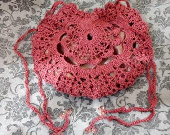 Victorian Rose Lace Crochet Beaded Purse Reticule Handbag Steampunk Edwardian Georgian