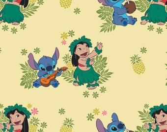 Ohana in Lemonade Lilo and Stitch Disney Woven Cotton Fabric 1 Yard BTY