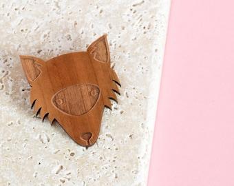 Fox brooch - fox jewellery - fox gift - gift for fox lover - fox face brooch - fox head brooch - fox jewelry - wood fox jewellery