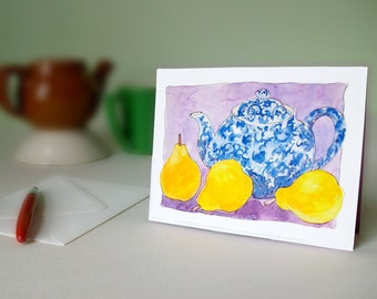 Cards - Teapot and Pears set of 4 blank inside