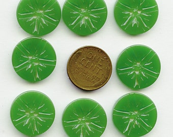 """Matching Set of (8) Vintage Carved Emerald Green Casein Buttons 3/4"""" NOS New Old Stock 3790 MORE AVAILABLE"""