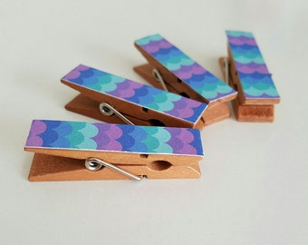 Magnets - Set of 4 - Happy Purple and Blue Mermaid Scales Clothespin Clips - Hostess Gift - Tropical Waves - Ready To Ship