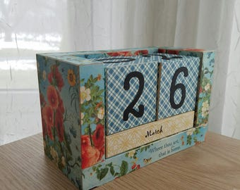 Wooden Block Perpetual Calendar - Garden Country Kitchen - Where Thou Art That is Home - Mothers Day Gift - English Garden