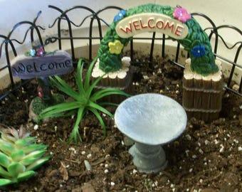 Miniature welcome sign, welcome arch or bird bath: fairy garden or gnome or tararium gardens