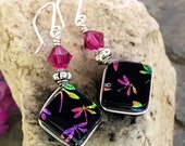 Rainbow Dragonfly Dichroic Glass Earrings with Flowers .. Wire Wrapped Sterling Silver Hooks