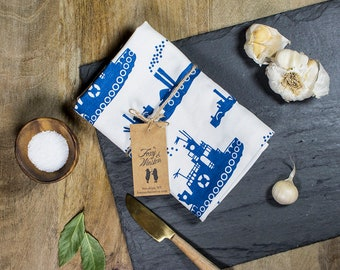 Blue Tugboat Tea Towel - GOTS Certified Dish Towel - Organic Cotton Kitchen Towel - Tugboats - Vintage Steamers - Tea Towels - Dish Towels