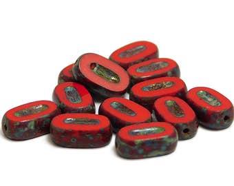 Czech Picasso Beads  - Oval Beads - Czech Glass Beads - Red Beads - Czech Beads - Glass Beads - Small Beads - 12pcs (4471)