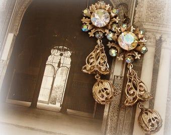 star light star bright one of a kind vintage assemblage earrings vintage starlight rhinestones