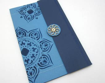 Journal, Notebook with Dividers - Blue Medallions - One of a Kind Blank Book