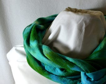 Hand Dyed Hemp Knit Infinity Scarf - Bright Colors that will Express Your Creativity, Soft Knit Fabric, Bright Blue and Green