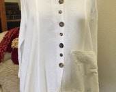 30% Off Sale Price!!   White Button Down Blouse Vintage Lace Shell Buttons