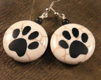 Black dog paw prints on genuine stone beads, fossilized dinosaur bone beads and silver handmade earrings