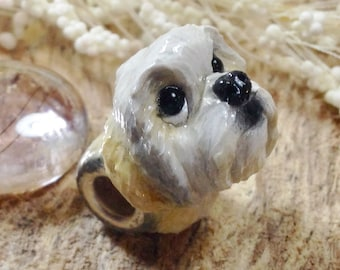 Shih Tzu European Large Hole Charm Polymer Clay Dog Bead