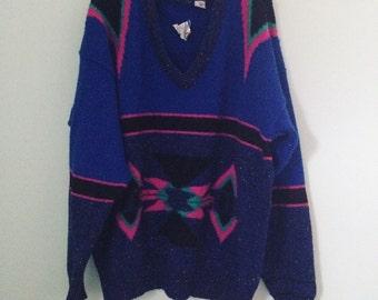 Vintage Aztec tribal 2x 1980's sweater
