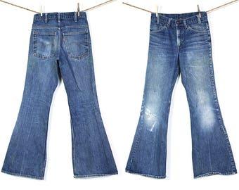"70s Bell Bottom Levi's Jeans / Vintage 1970s Denim Flares / High Waist Orange Tab 684 Bellbottoms / Distressed Faded Worn In / 29"" x 30.5"""