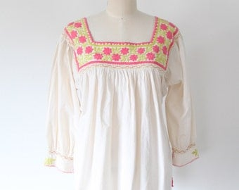 Vintage Cream Top with Pink Embroidery