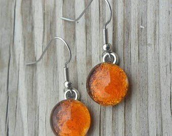 Amber Dichroic Glass French Ear wire Earrings