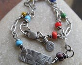 African Trade Bead Anklet Silver Multicolor Silver Anklet Colorful Sterling Silver Ankle Bracelet Beach Lover Jewelry Gift Summer jewelry