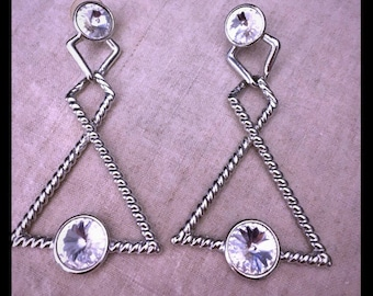 80s vintage new wave silver and rhinestone earrings