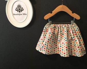 Sample SALE - Will fit Size 12 month to 2T - Ready to MAIL - SKIRT - Circus - Polka Dot - by Boutique Mia