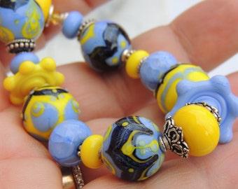 BLUEBERRY LEMONADE Handmade Lampwork Bead Bracelet