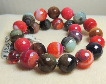 SHOW STOPER Handmade Stone and Lampwork Bead Necklace
