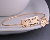 Gold Retirement Gift, Happiness is Retirement Bracelet, Retirement Jewelry, Personalized Bangle Bracelet