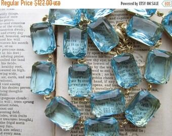 SALE Aqua statement necklace,  georgian collet necklace, Anna Wintour necklace, aquamarine necklace. Beyond the Sea