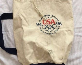 Vintage Collectible Canvas Duffel Athletic Bag USA 94 96 Olympic Centennial Games