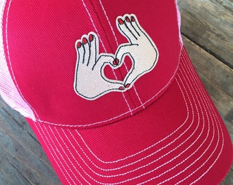 ADULT OR TEEN Girls Heart Hand Trucker Hat Baseball Cap Snap Back
