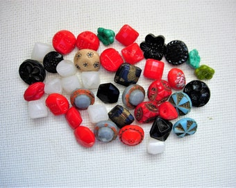 Big Lot of 41 Various Vintage Diminutive Glass Buttons-All Kinds