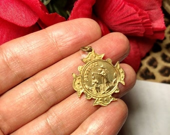 Flash Sale Old Mystery Medal Vintage Religious Gold Gilt Pendant Foreign Writing Unusual Design