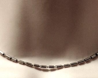 1980s Signed MONET Vintage Barrel Link Choker Chain Necklace Silver Tone 15 Inches Designer